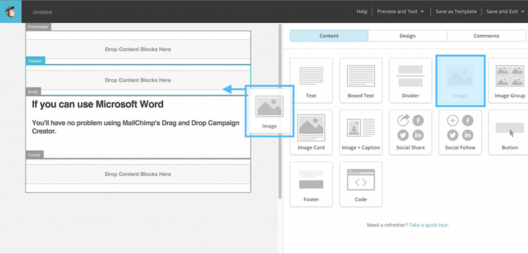 Editor Drag and Drop - MailChimp