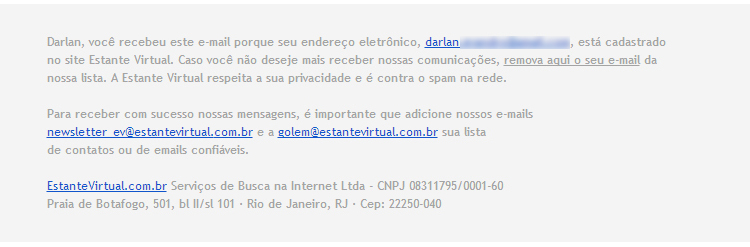 Rodapé Email Marketing - Estante Virtual
