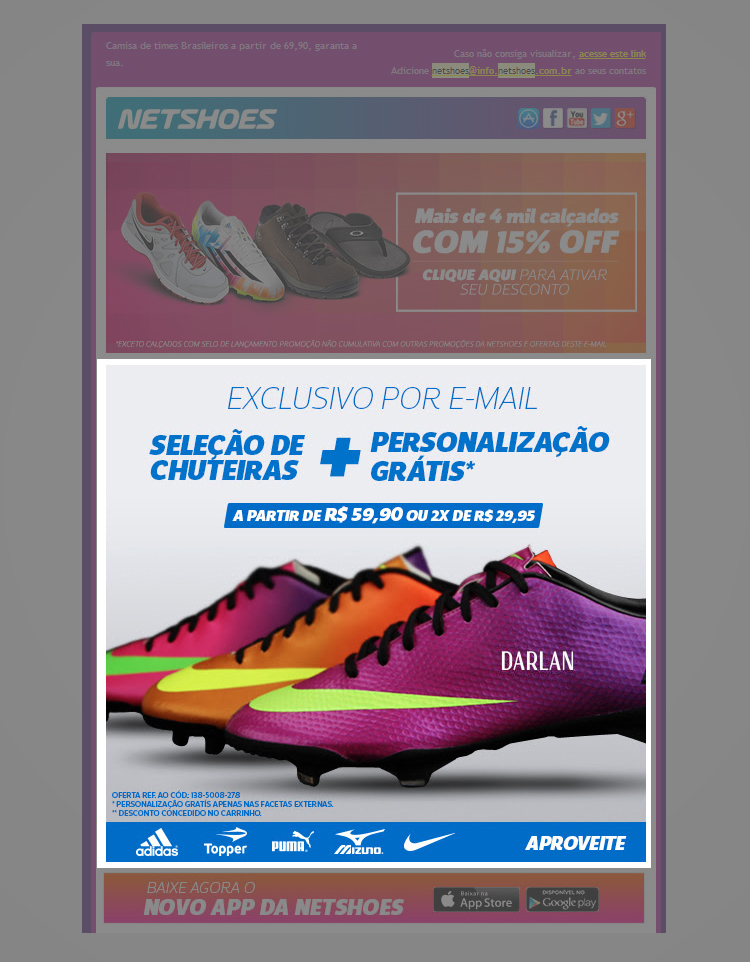 Email Personalizado Netshoes
