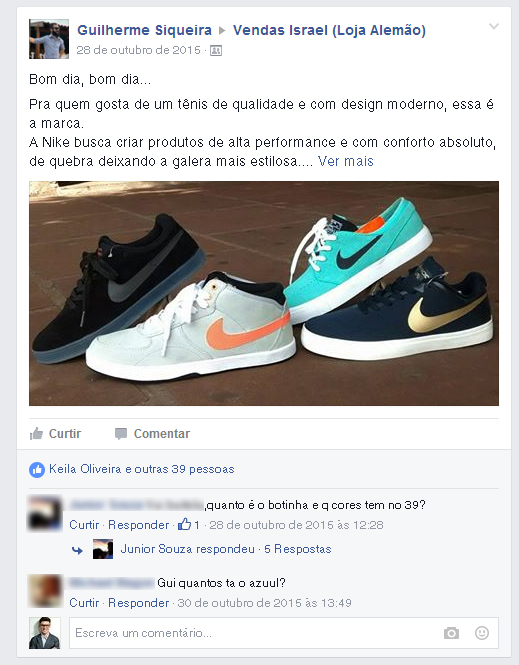Exemplo de post publicado no grupo.